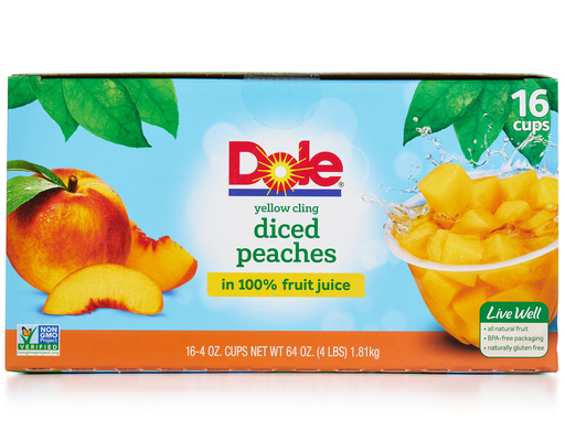 Dole Yellow Cling Diced Peaches - 16 Pack