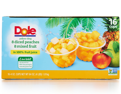 Dole Diced Peaches + Mixed Fruit - 16 Pack