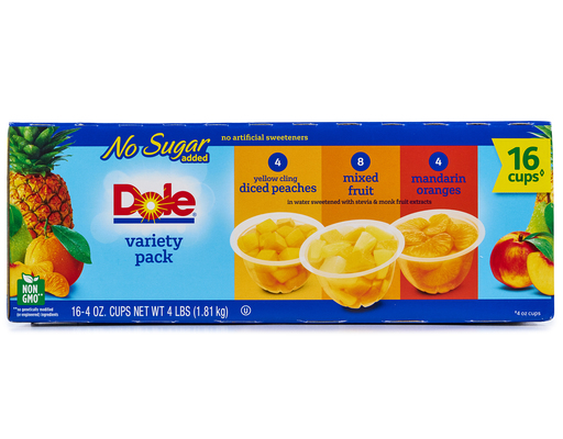 Dole No Sugar Added Fruit Bowls - 16 Pack