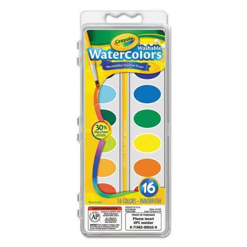 Washable Watercolor Paint, 16 Assorted Colors