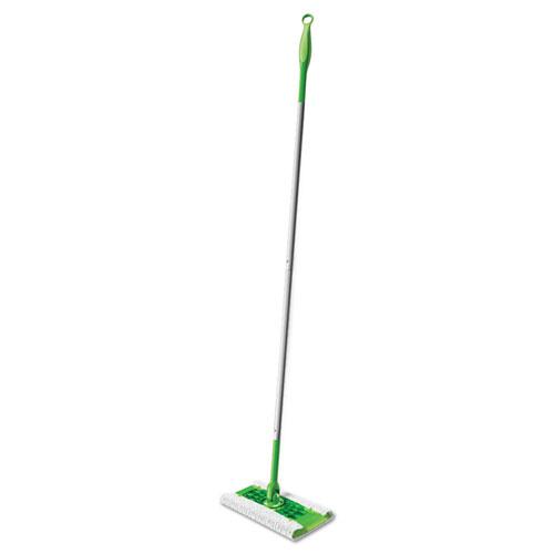 "Sweeper Mop, 10 X 4.8 White Cloth Head, 46"" Green/silver Aluminum/plastic Handle"