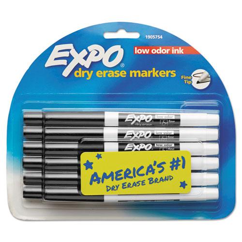Low-odor Dry-erase Marker, Fine Bullet Tip, Black, Dozen