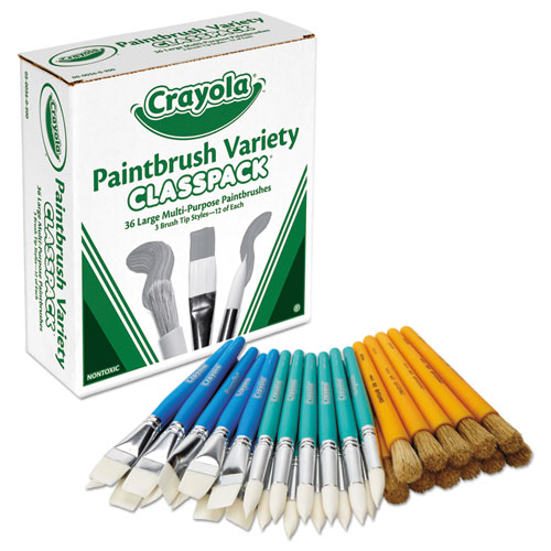 Large Variety Paint Brush Classpack, Natural Bristle/nylon, Flat/round, 36/set