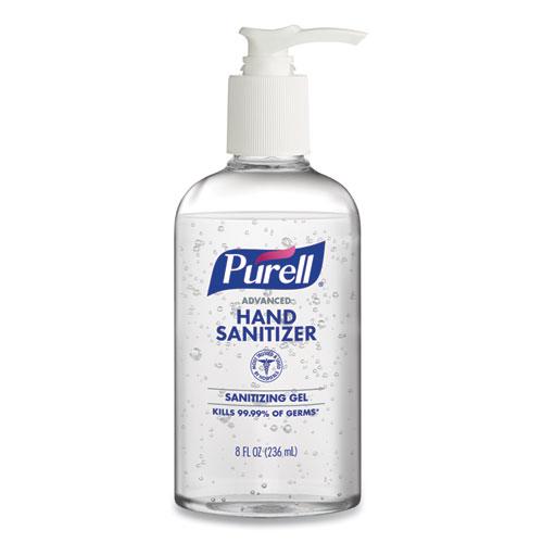 Advanced Gel Hand Sanitizer, Refreshing Scent, 8 Oz Pump Bottle, 12/carton