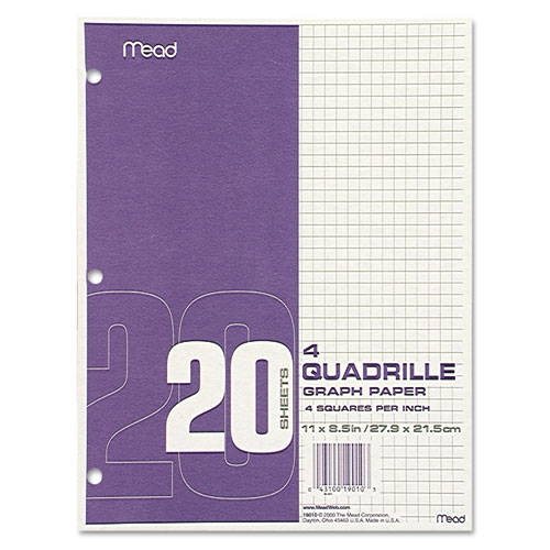 Graph Paper Tablet, 3-hole, 8.5 X 11, Quadrille: 4 Sq/in, 20 Sheets/pad, 12 Pads/pack