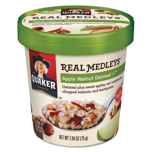 Real Medleys Oatmeal, Apple Walnut Oatmeal+, 2.64 Oz Cup, 12/carton
