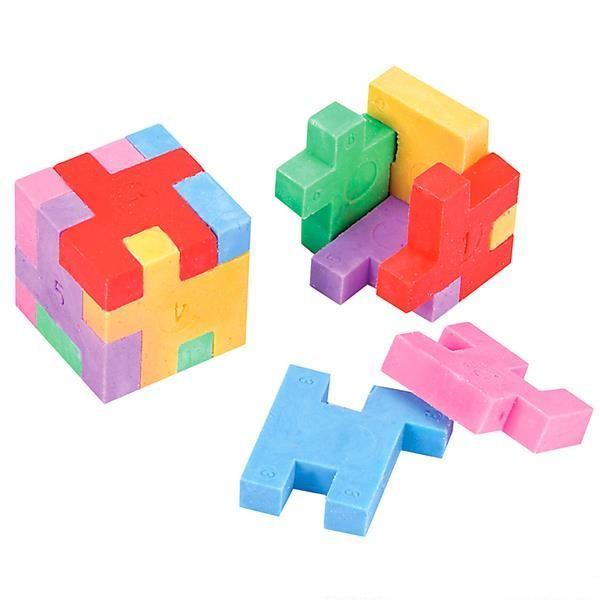 "1"" Puzzle Cube Erasers 12 pk"