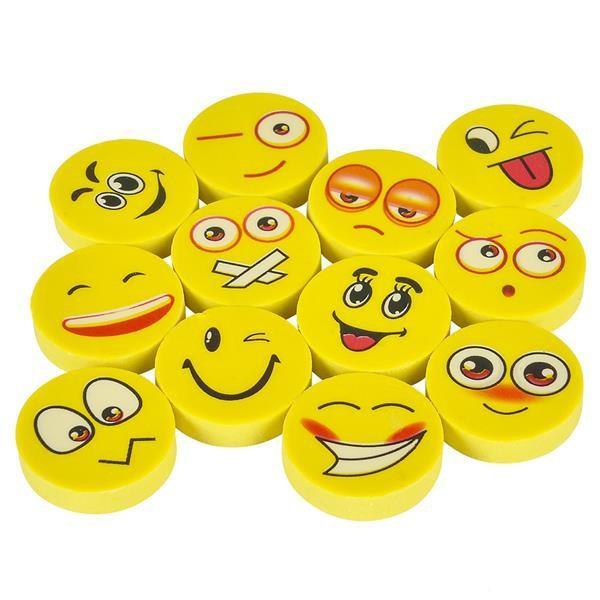 "1"" Round Emoji Face Erasers 72 pk"