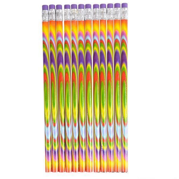"7.5"" Tie-Dye Psychadelic Pencils 12 pk"