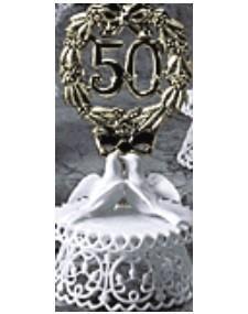 Anniversary Cake Topper - E50- Golden Anniversary with Doves