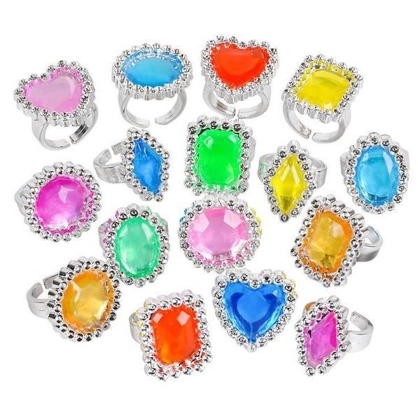Plastic Jewel Rings - 36 Pack