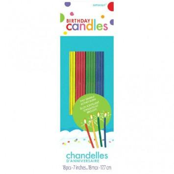 Sparkling Thin Party Novelty Candles Assorted Colors 18ct