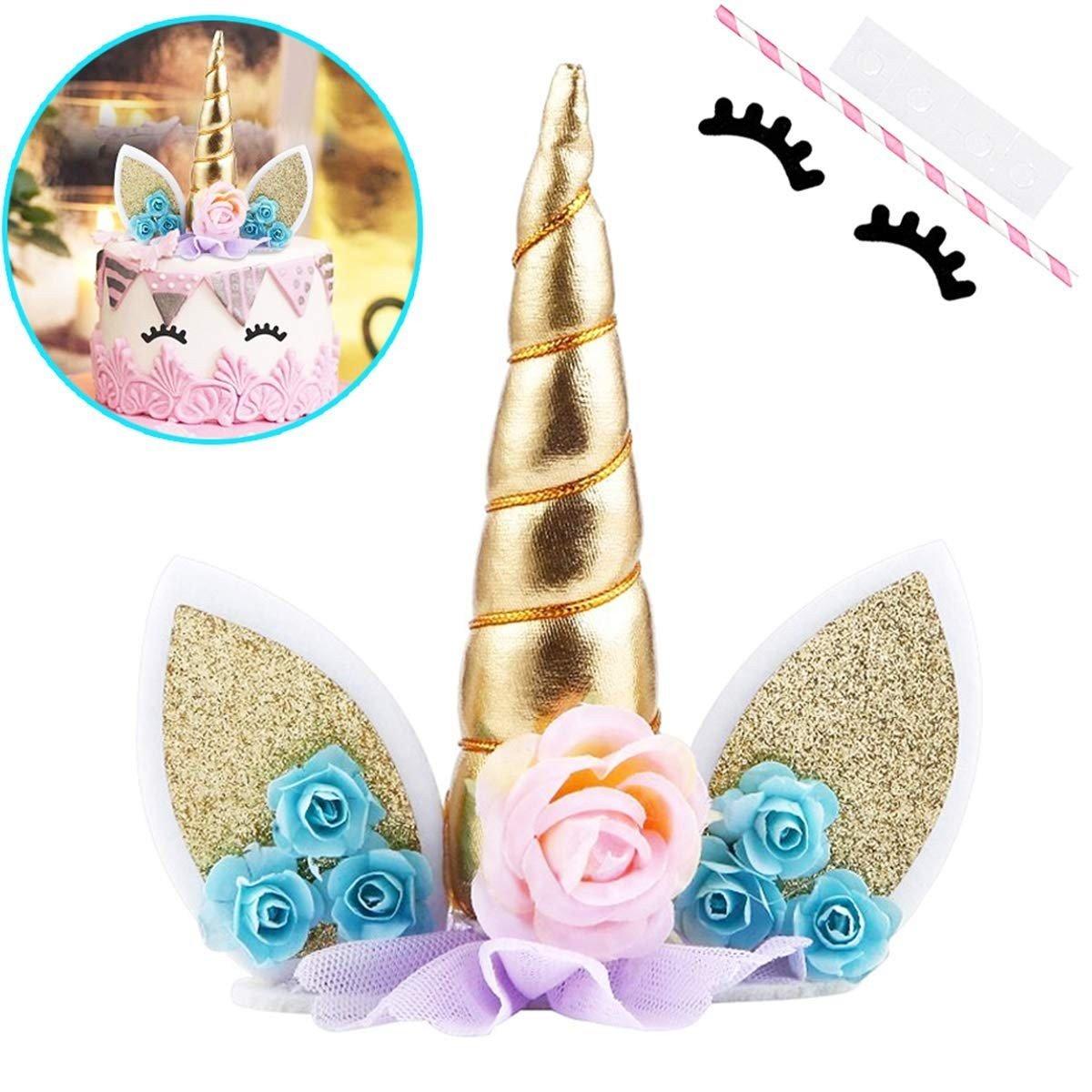 Unicorn Cake Topper, with Eyelashes (1) & Unicorn Stickers (25)