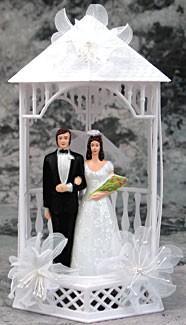 Wedding Cake Topper - E506 - Bride & Groom, Gazebo Topper