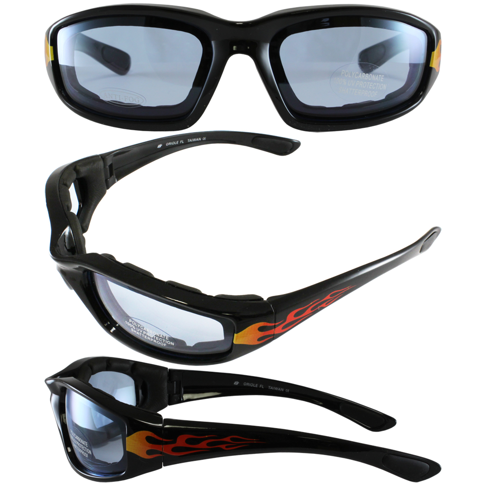 Flame Design Motorcycle Biker Glasses With Blue Shatterproof Anti-fog Polycarbonate Lenses And Wind Blocking Foam